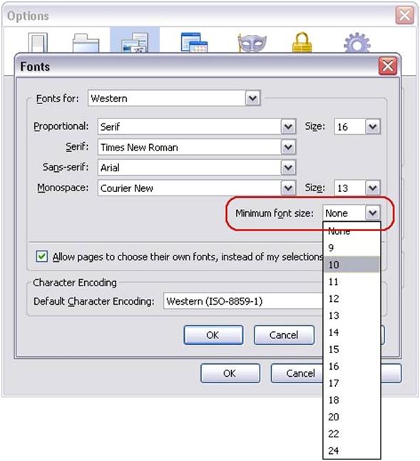 Font dialog box